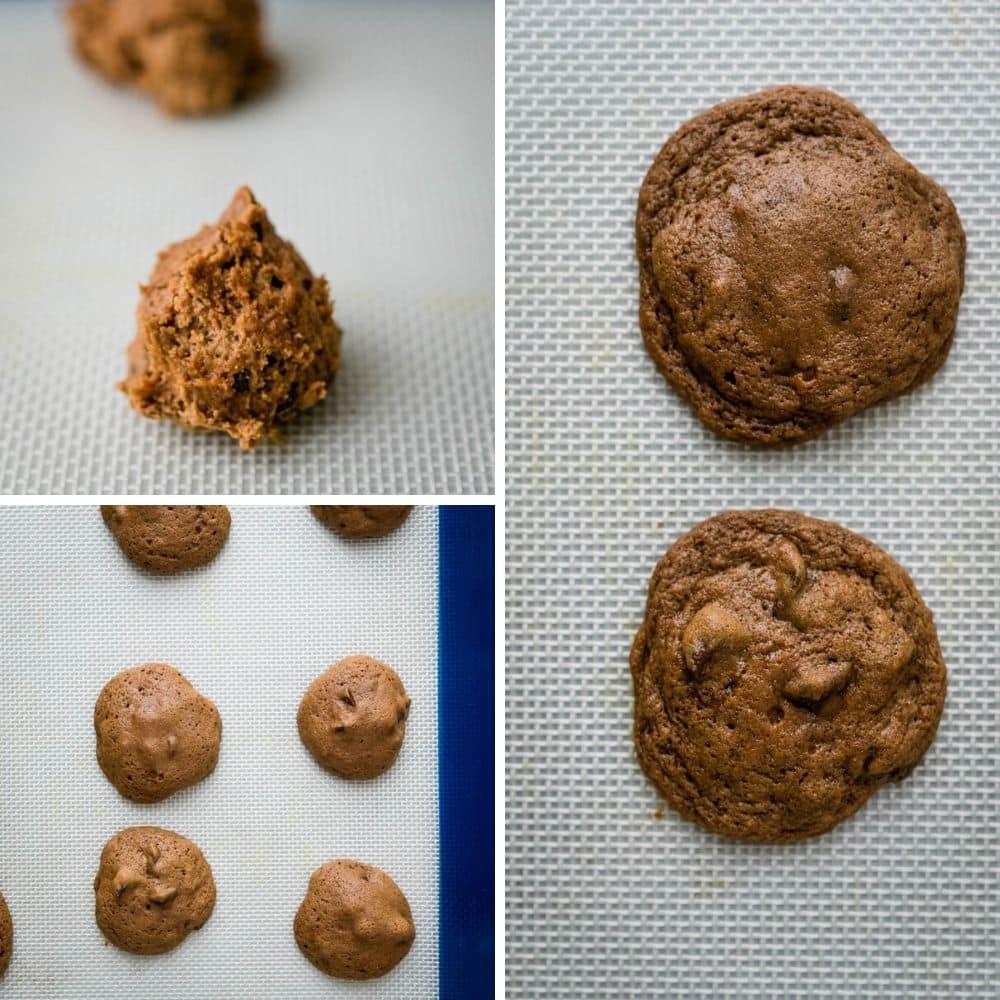 Baked Irish Cream Cookies on a silpat.