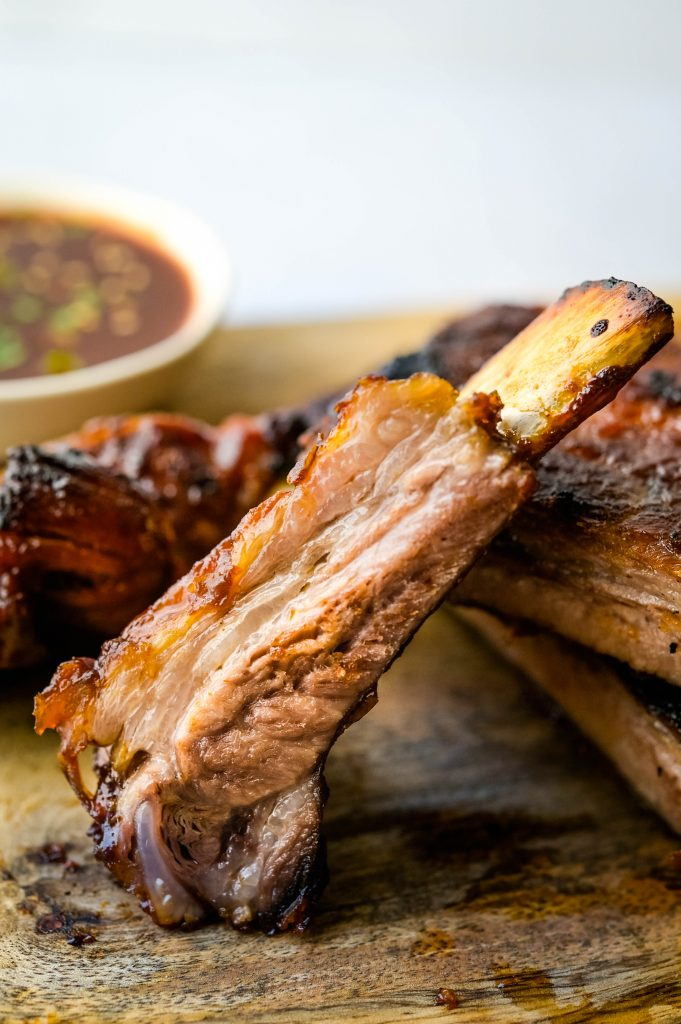 The juicy inside of Asian ribs fresh from the grill.
