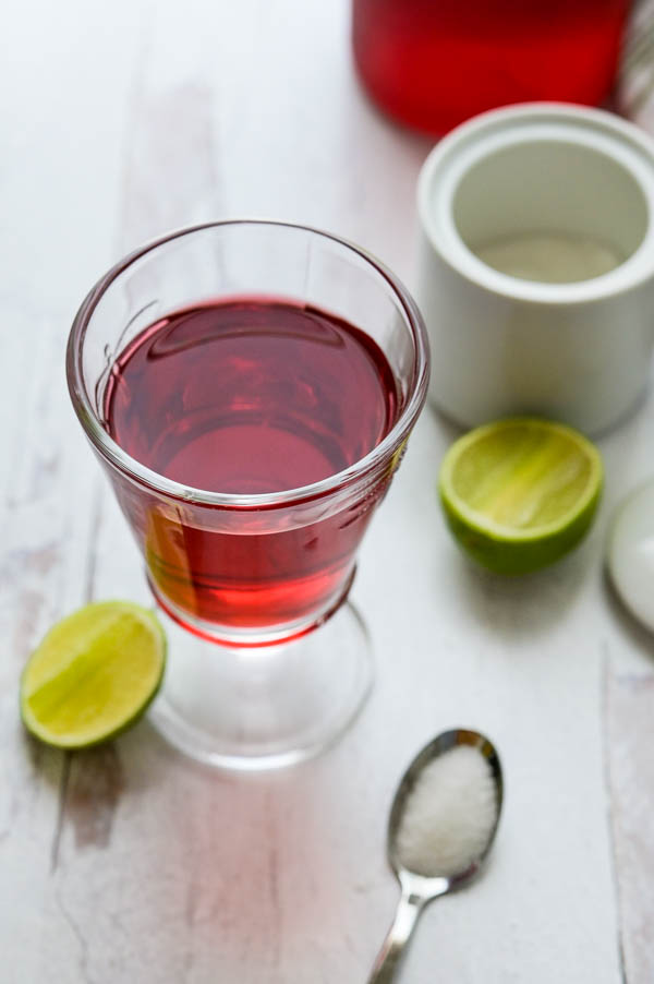 a glass of cold brew hibiscus tea.