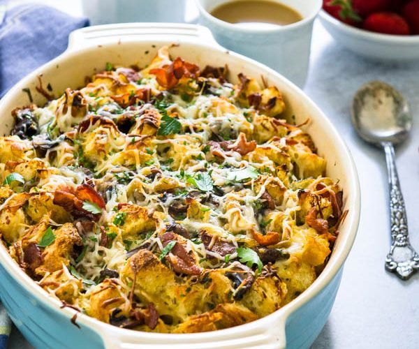Bacon Mushroom Caramelized Onion Breakfast Strata Recipe