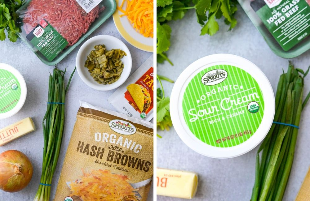 Ingredients from Sprouts Market to make dinner waffles.