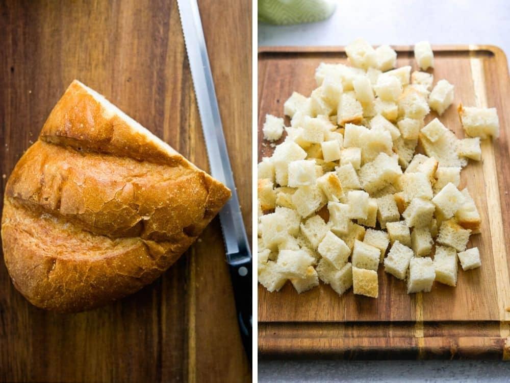 cubing bread for egg strata  bread casserole recipe.