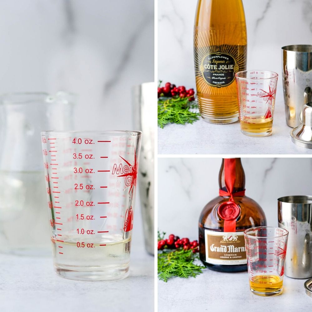 Measuring simple syrup, elderflower liqueur and Grand Marnier for the winter white cosmo.