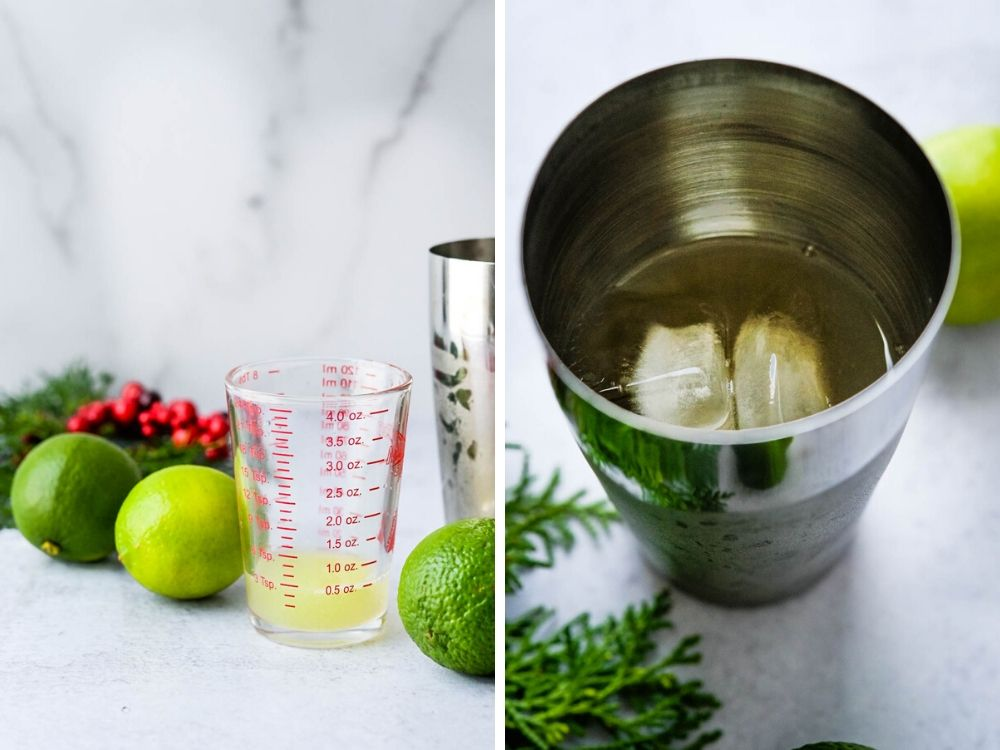 adding lime juice and shaking the cocktail in a cocktail shaker.