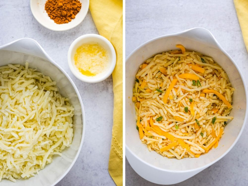 add cheese and seasonings to frozen hash browns.