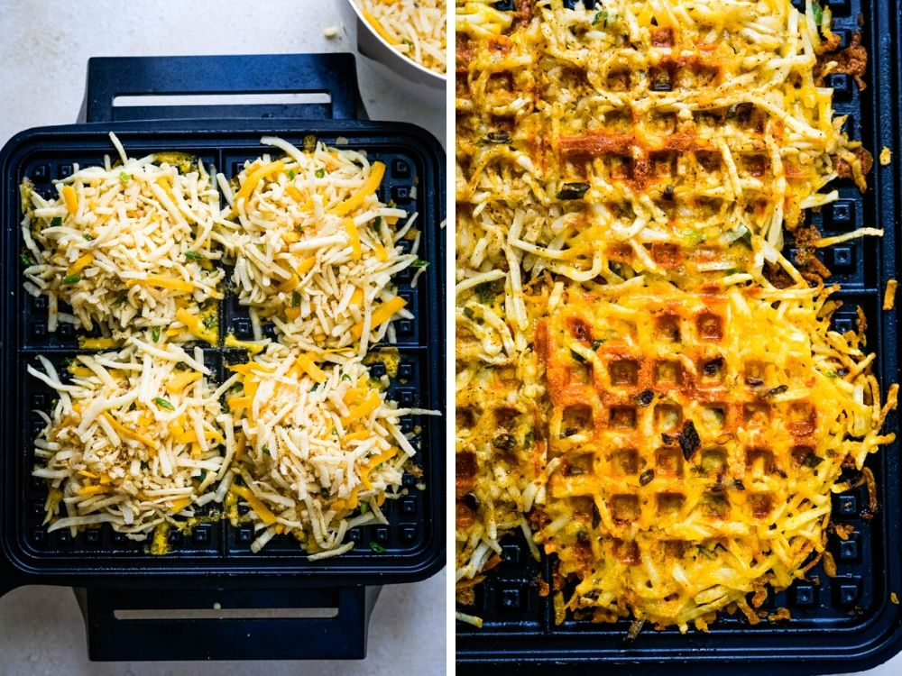 making taco waffles in a waffle iron.