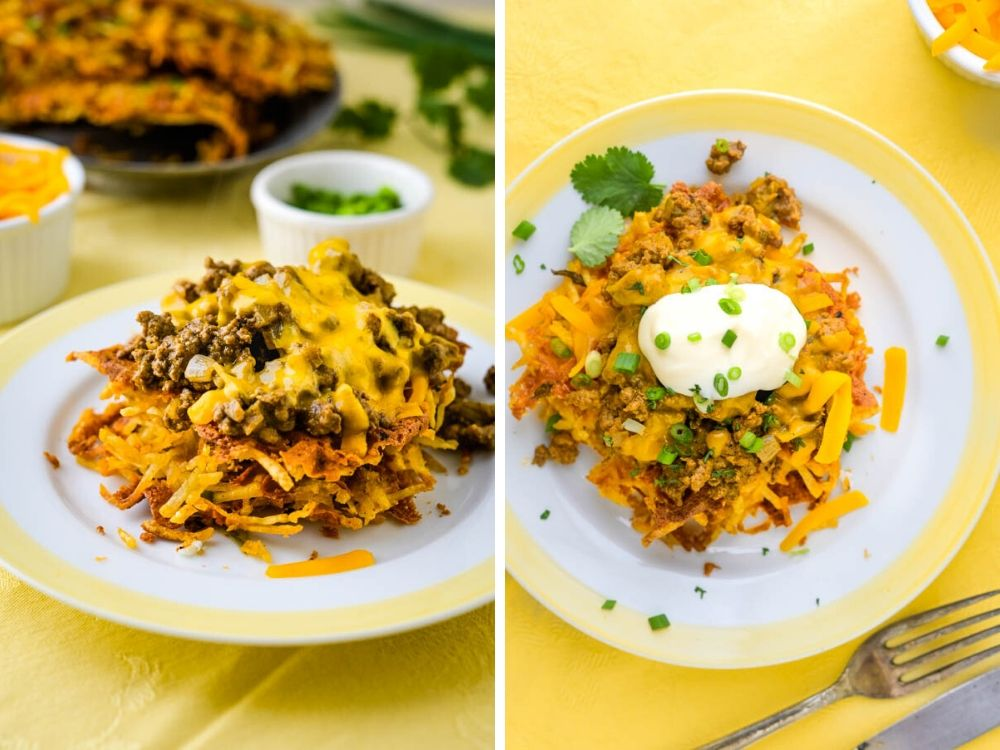 Making taco waffles by adding seasoned ground beef and cheese.