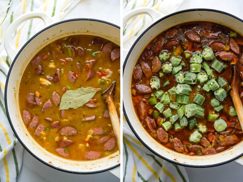 adding stock. After simmering, adding frozen okra to the Louisiana chicken sausage gumbo.