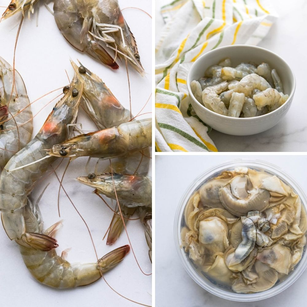 fresh seafood for the cajun soup. I used head-on shrimp and oysters.
