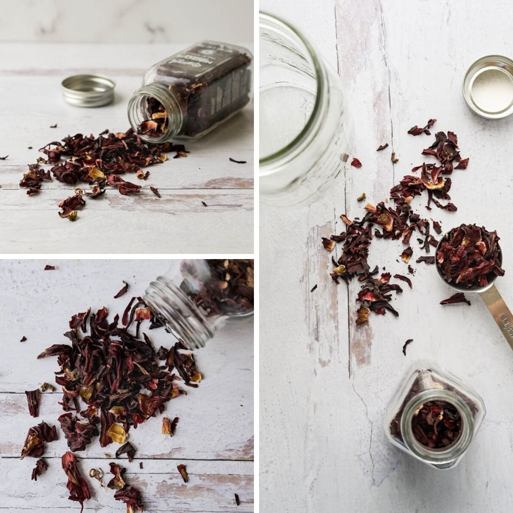 measuring dried hibiscus flowers