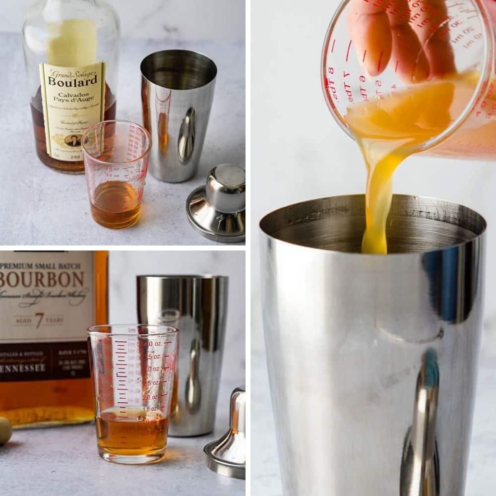 Adding Calvados, spirits and apple cider.