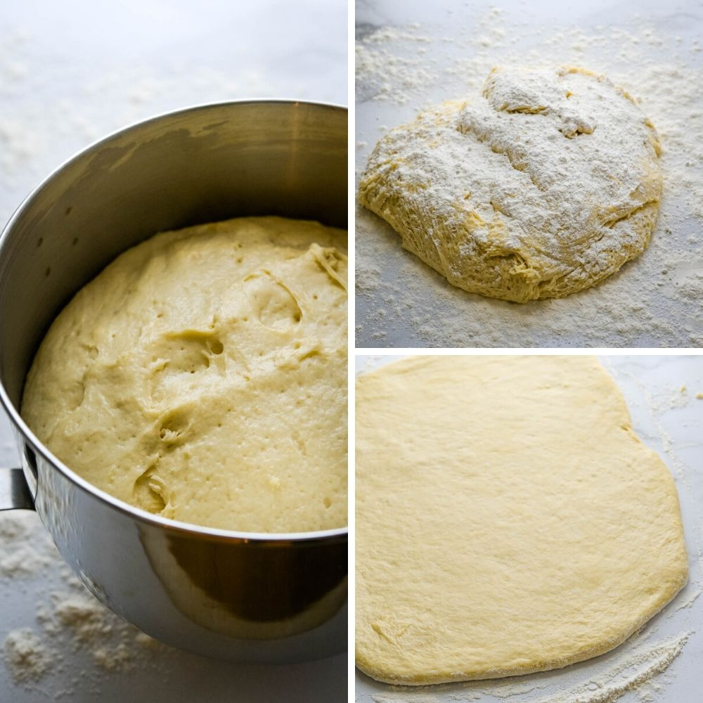 proofing the king cake dough and rolling it out.