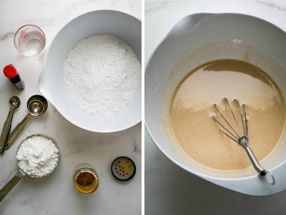 Assembling glaze for king cake recipe.