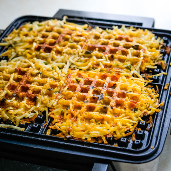 hash browns on the waffle iron.