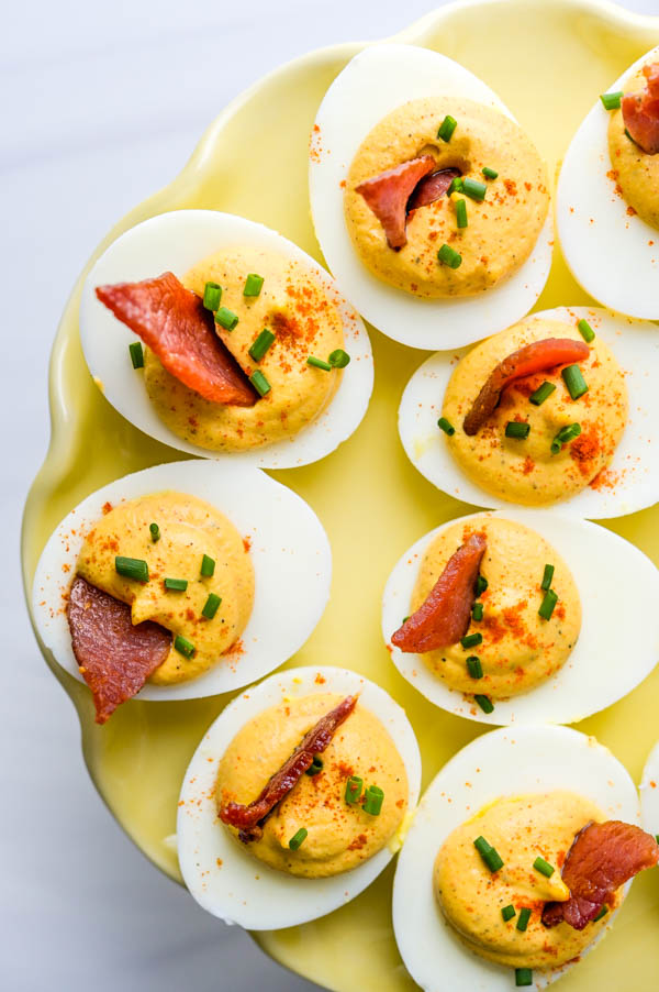 Southern deviled eggs on a serving platter.