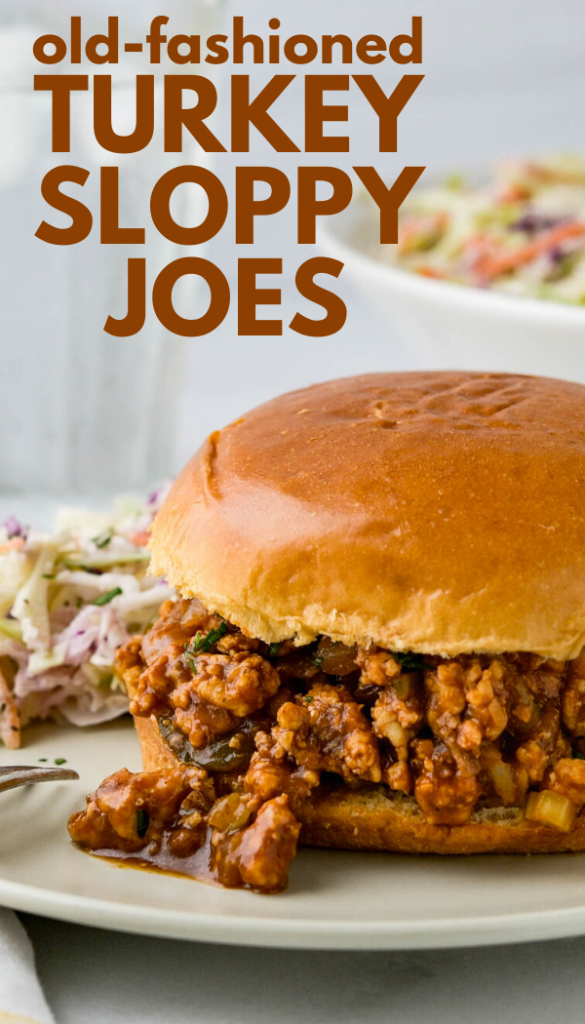 This easy, homemade, old fashioned Turkey Sloppy Joes recipe is made with lean ground turkey breast for a healthy take on this comfort food dinner. It's the best quick and easy meal and WAY better than Manwich. #groundturkeydinner #sloppyjoes