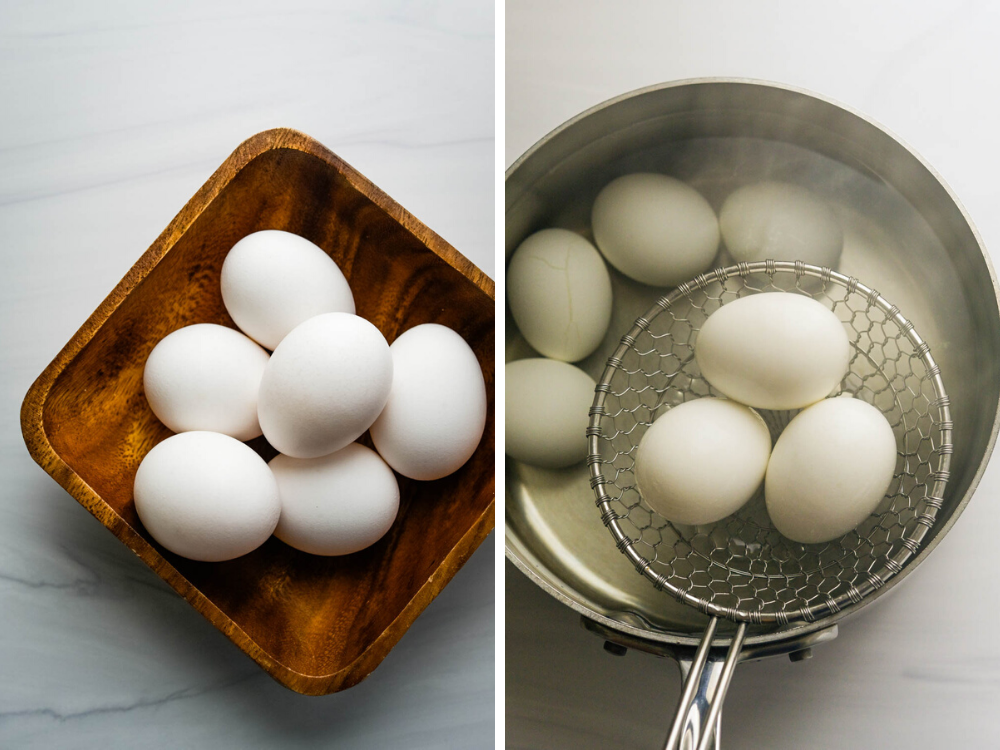 making hard boiled eggs in a large saucepan.