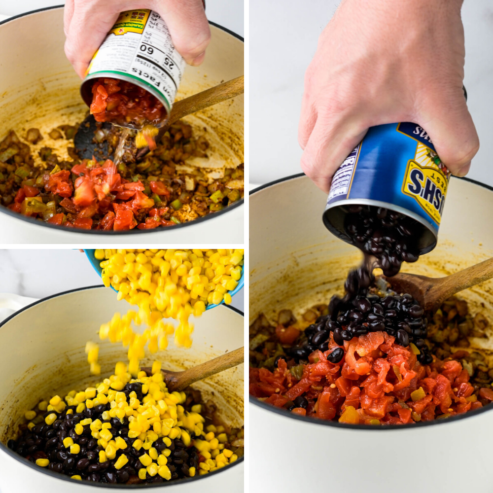 adding the canned ingredients into the pot for an easy chicken ro-tel recipe.