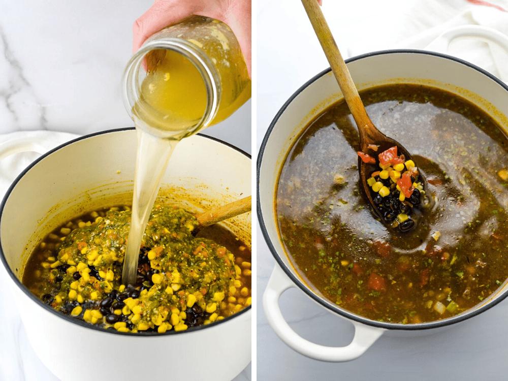 pouring chicken stock into the chicken ro-tel recipe