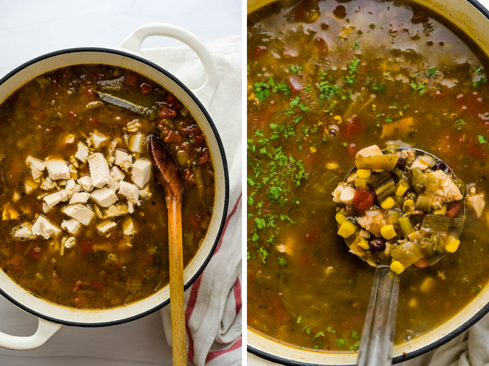 adding the chicken to the tomatillo soup and simmering. Ladle the soup to serve. This is an easy chicken ro-tel recipe.