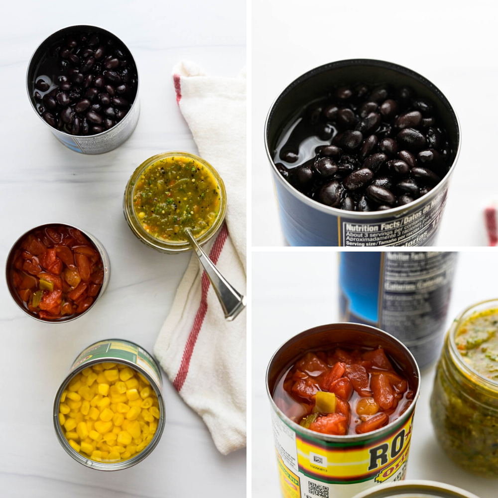 opening cans of black beans, tomatillo salsa, corn and ro-tel for the taco soup.
