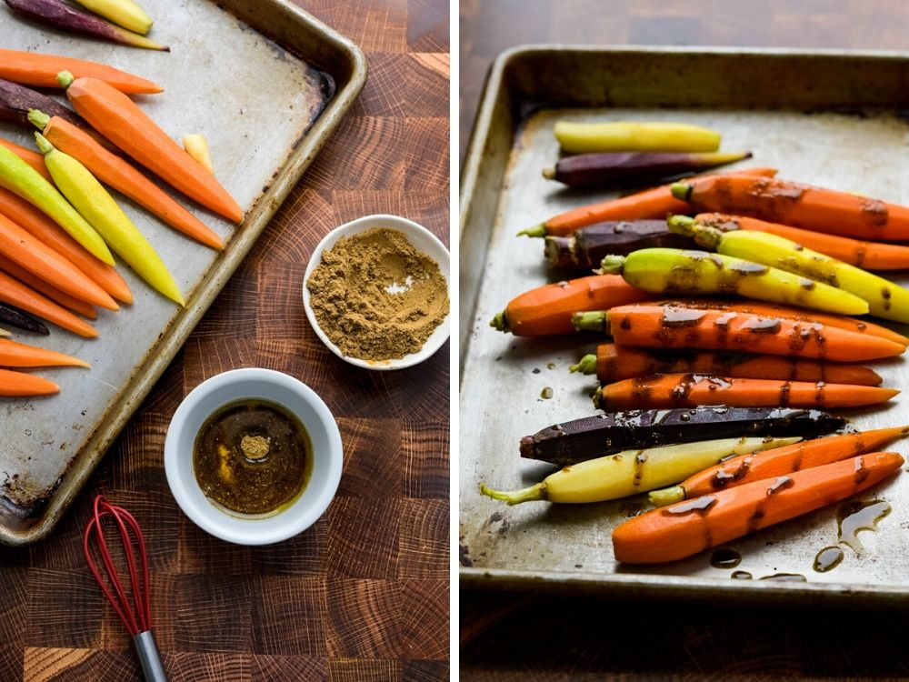 drizzling moroccan spiced oil over the carrots to coat them in ras el hanout.