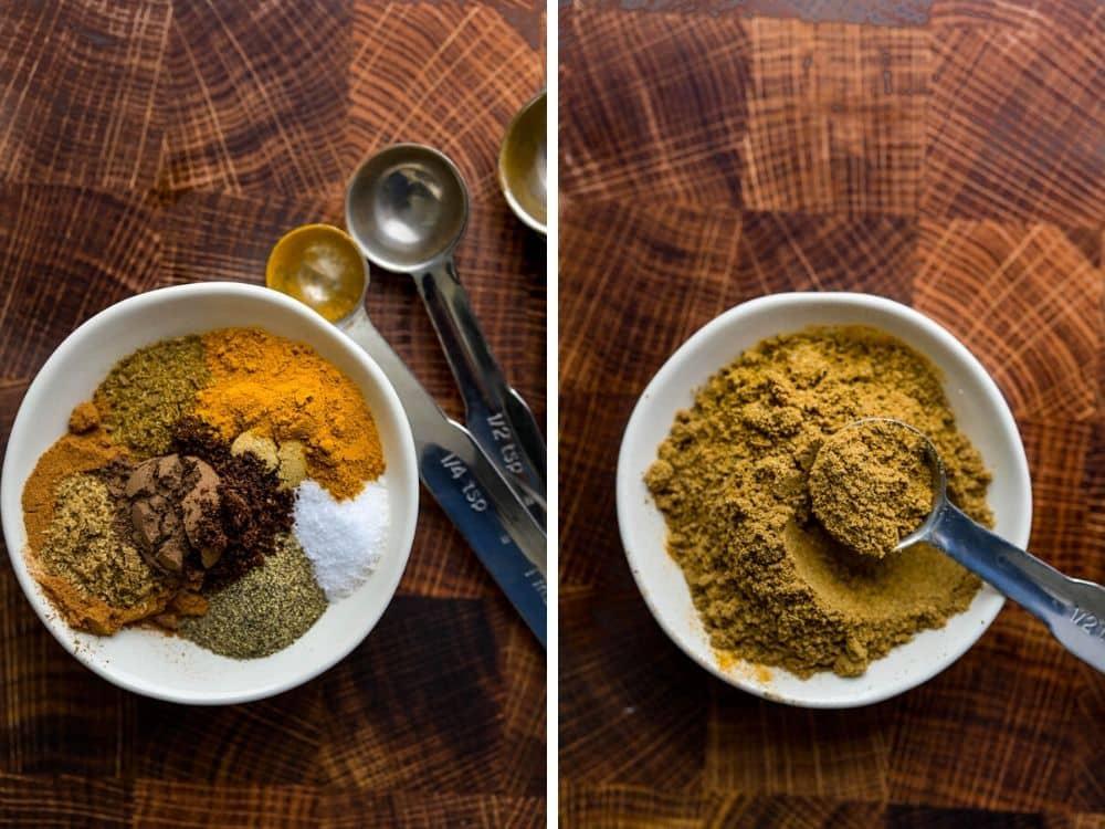 blending ras el hanout spice mix.