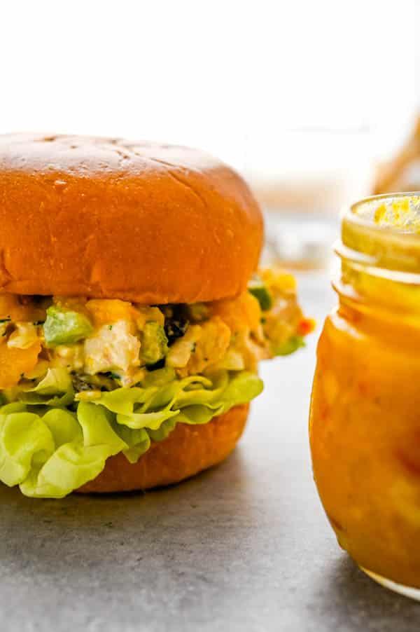 making mango chutney chicken salad sandwiches.