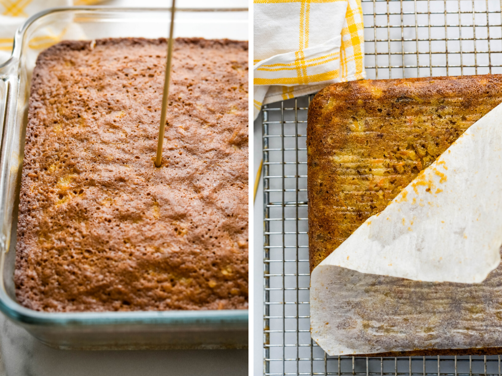 testing the square carrot cake for doneness and removing it from the pan.