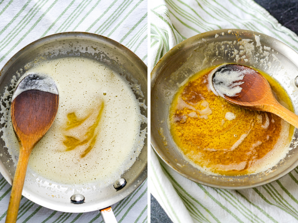 stages of browned butter before adding gnocchi and sage.