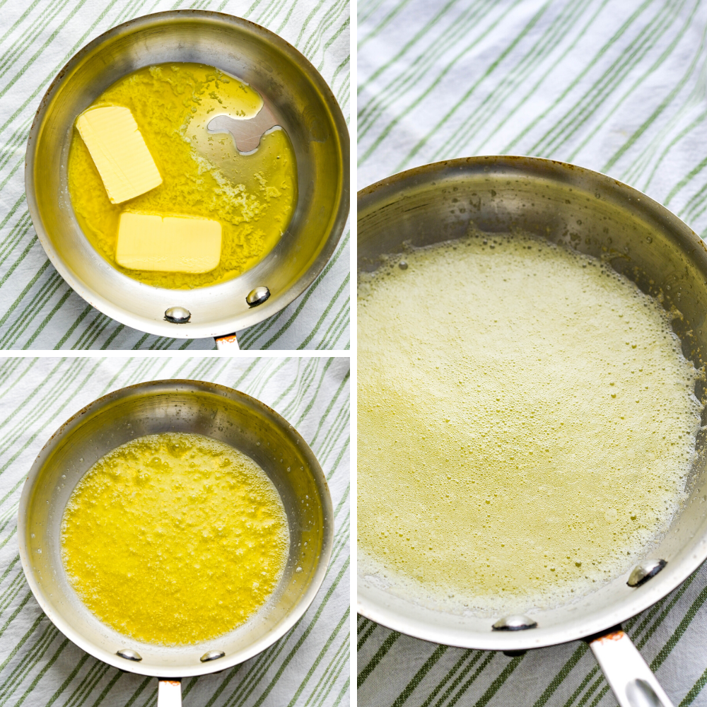 melting butter for browned butter sauce.