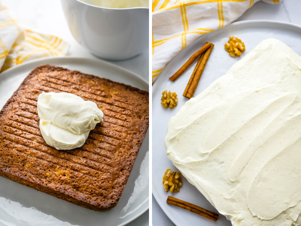 frosting the small carrot cake with cream cheese frosting.