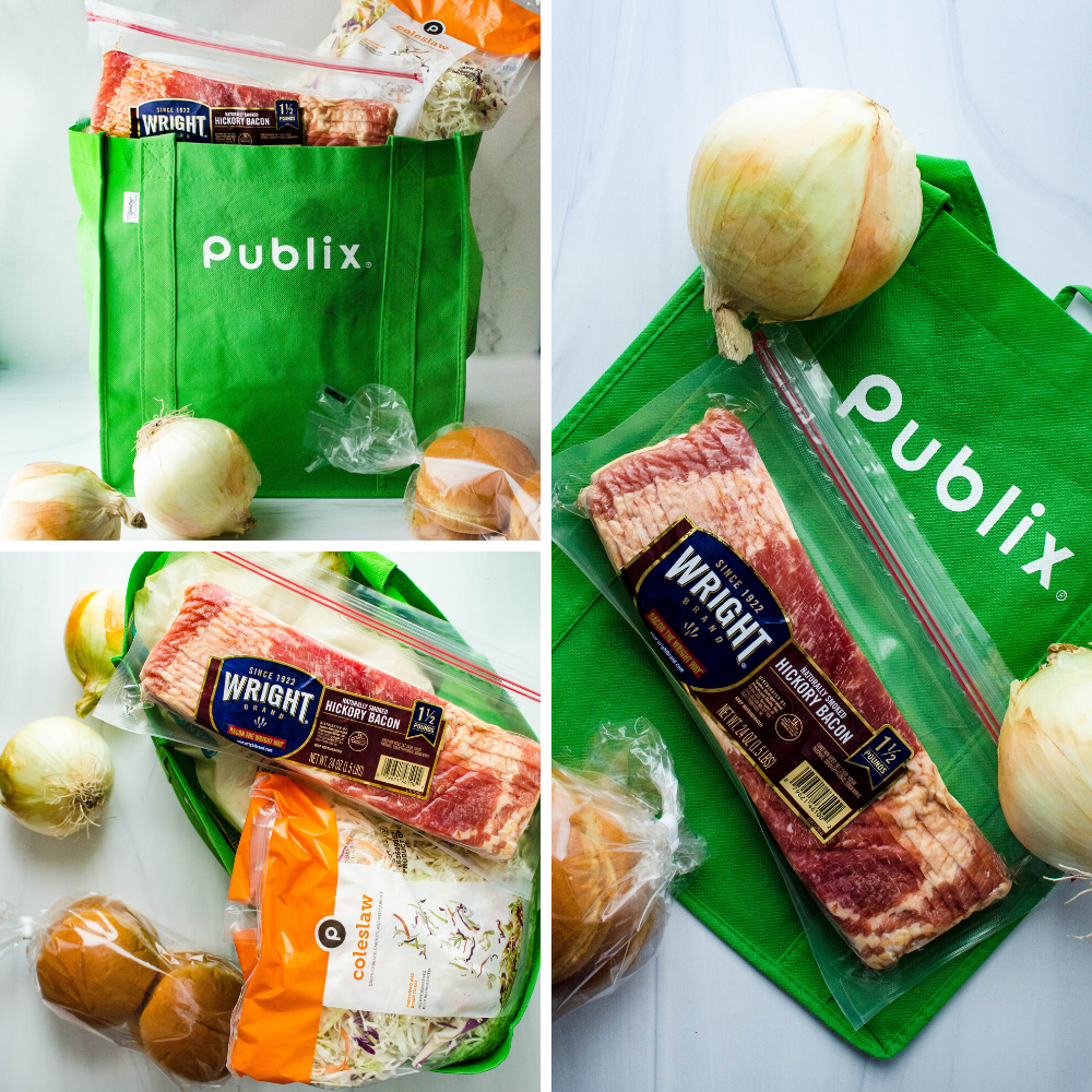 Shopping at Publix for Wright® Brand Hickory Bacon and all the fixings for a Father's Day cookout.