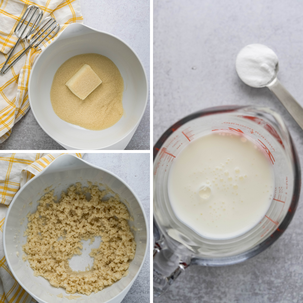 creaming shortening and sugar together and mixing buttermilk and baking soda.