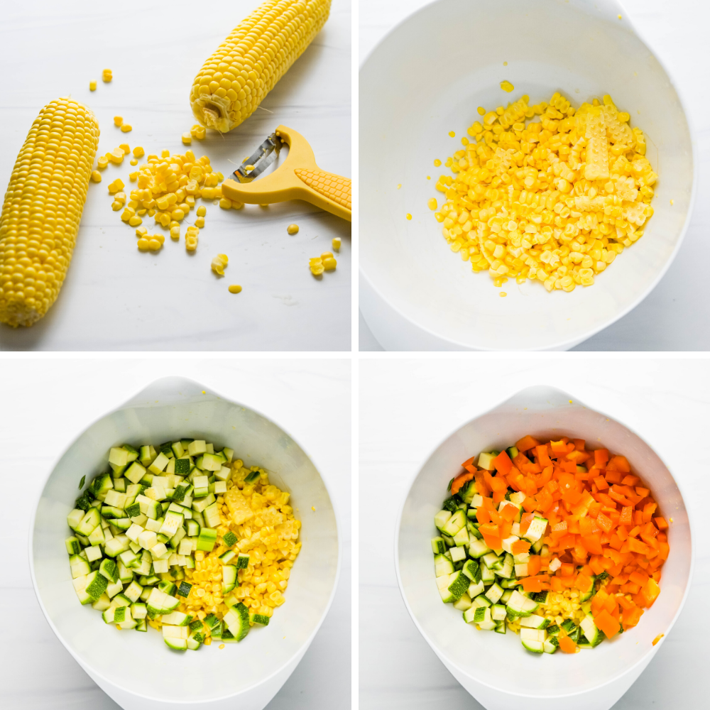 Assembling marinated vegetable salad in a large bowl.