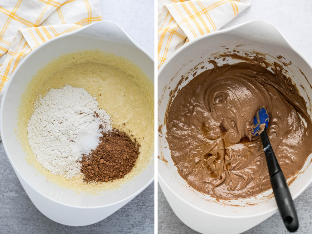 mixing dry ingredients into chocolate buttermilk cake.