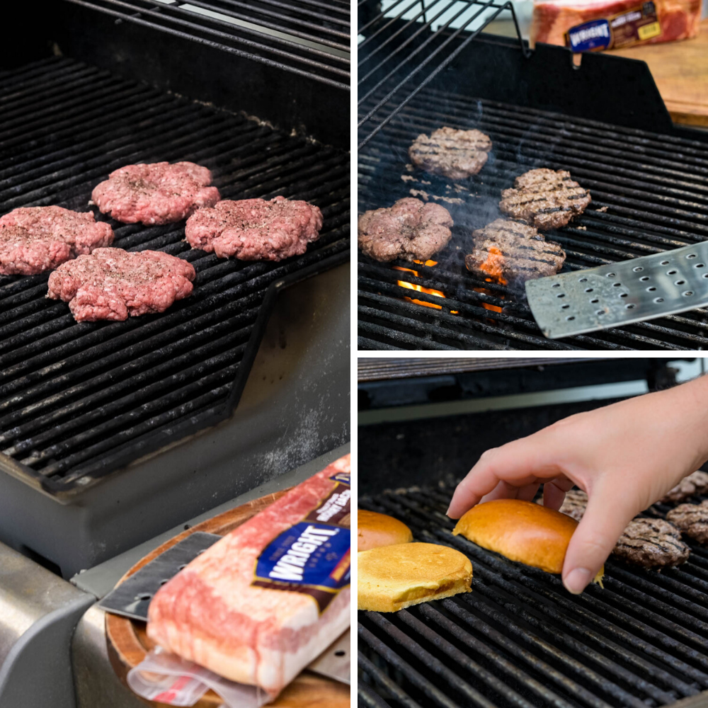 Grilling burgers and toasting buns.