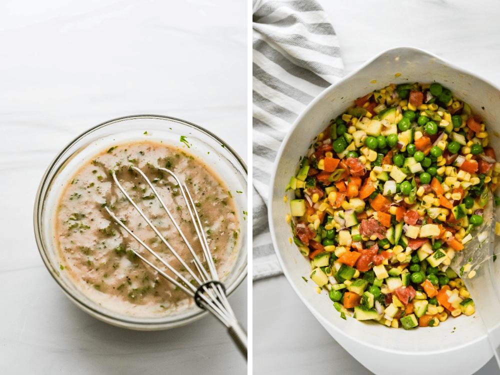 Lightly dressing sweet corn salad with shallot vinaigrette.