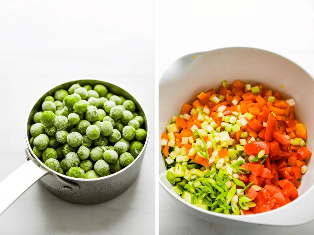adding peas to the chopped veggie salad