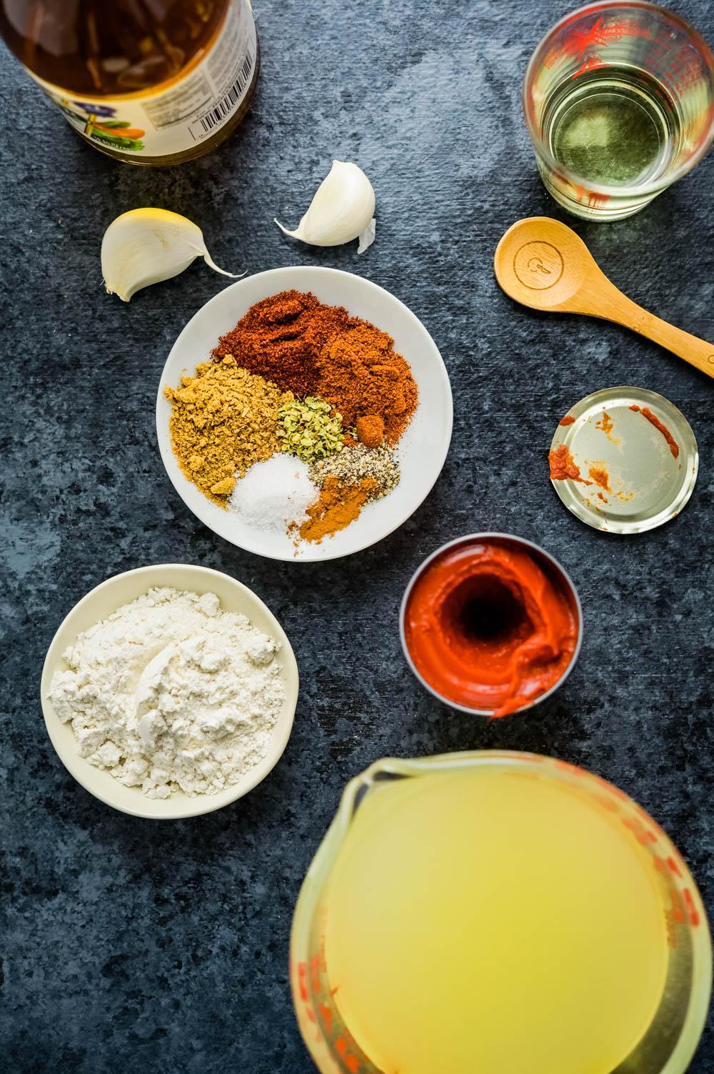 ingredients for chicken black bean enchiladas.
