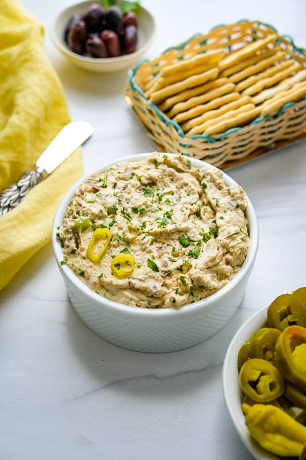 Serve the seafood spread with saltine crackers.