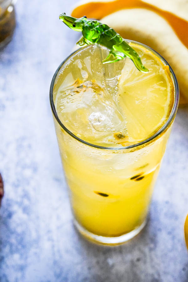 passion fruit cocktail on ice.