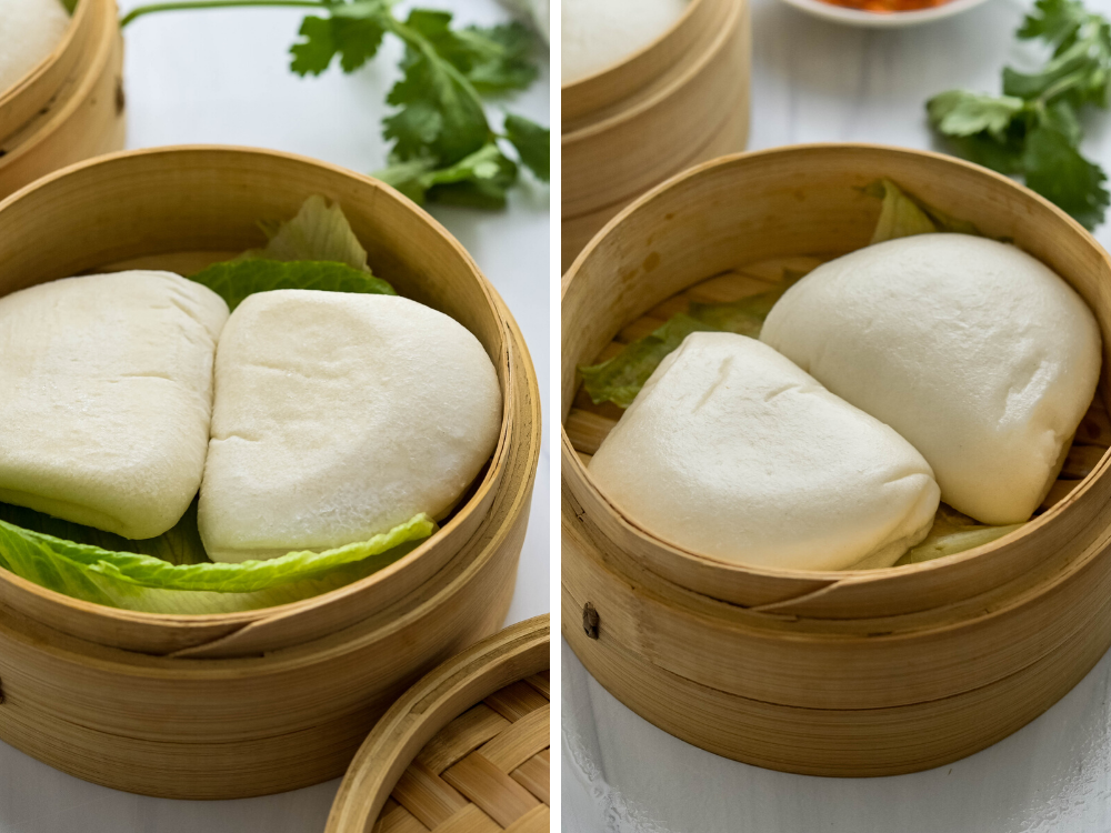 steaming asian buns in a bamboo steamer basket.