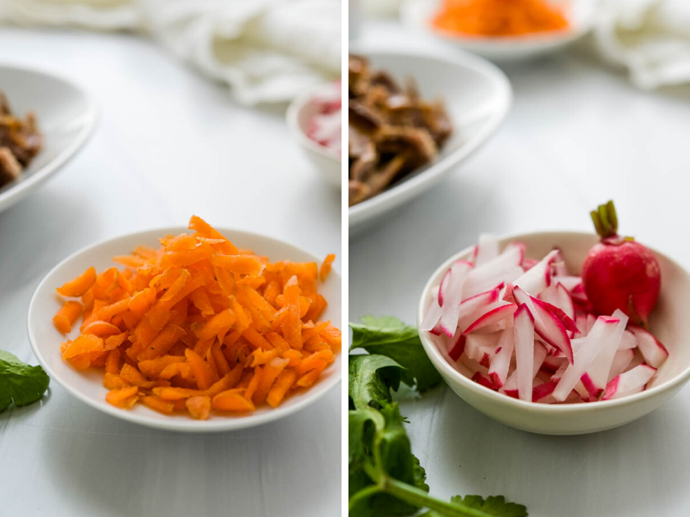 fresh grated carrots and julienned radish for topping pork bao buns.