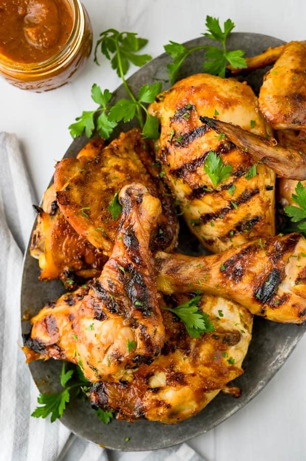 Serving brined BBQ chicken.
