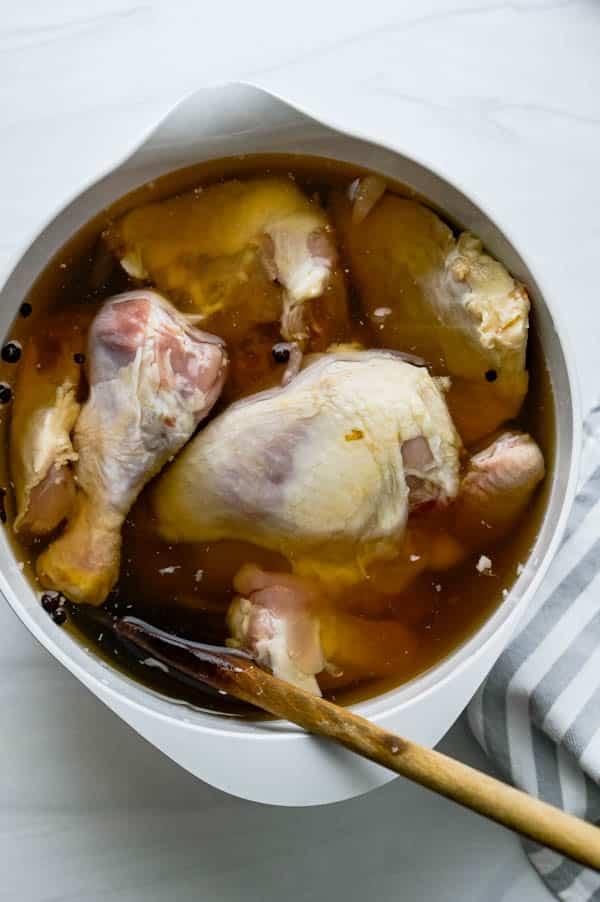 brining chicken.
