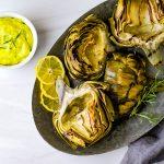 Grilled Smoked Artichokes with Tarragon Aioli