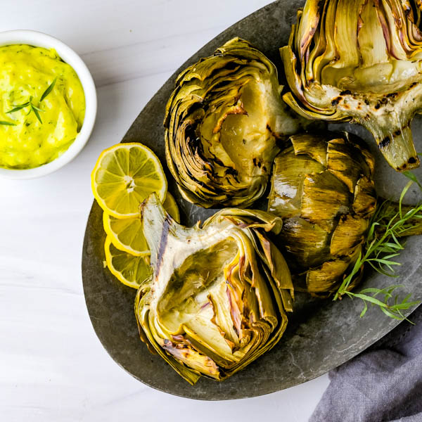 Grilled Smoked Artichokes with Tarragon Aioli