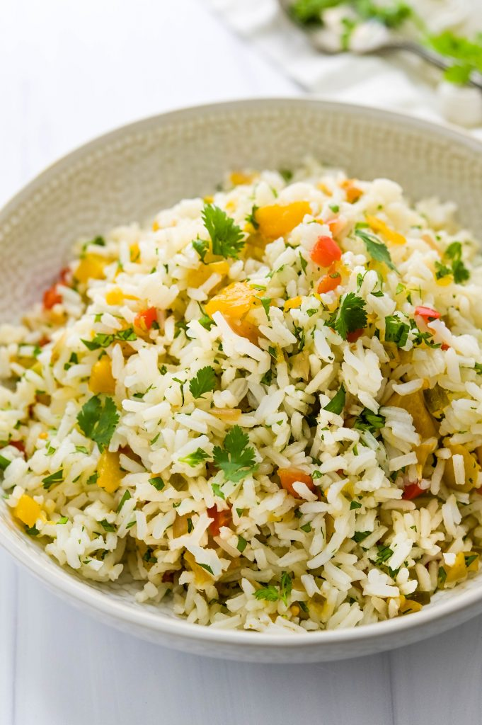 Serving Pineapple Chutney Rice Pilaf as a side dish.