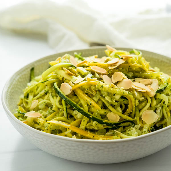 A beautiful picture of the courgette salad with pesto vinaigrette. Topped with sliced toasted almonds it
